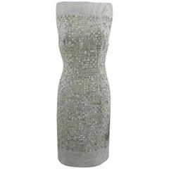 Pierre Balmain by Oscar de la Renta Haute Couture Grey Wool Lesage Bead Dress