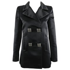 Chanel 11A Black Silk Satin Caban Jacket with Square Silver Buttons