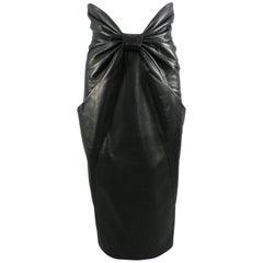 Balmain Pre Fall 2014 Black Leather High Waist Ruched Midi Skirt