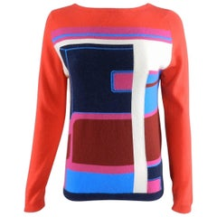 Hermes Red and Blue Color Block Cashmere Sweater