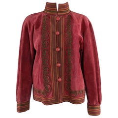 Yves Saint Laurent Vintage 1970's Burgundy Suede Soutache Trim Jacket