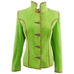 Yves Saint Laurent AW 1999 Haute Couture Lime Green and Fuchsia Suede Jacket