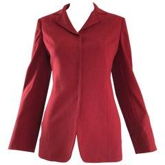 Max Mara 1990s Crimson Red Size 4 Vintage 90s Tailored Wool Slim Blazer Jacket