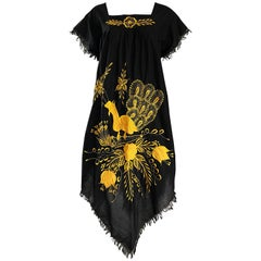 1970s Black and Yellow Handkerchief Scarf Hem Mexican Embrodiered Caftan Dress