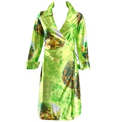 Fabulous 1990s Does 1970s Neon Green Novelty Horse Print Vintage 90s Wrap Dress