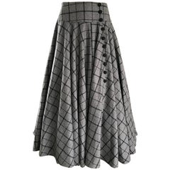 1950s Grey and Black Windowpane Checkered Print Wool Vintage 50s Maxi Skirt