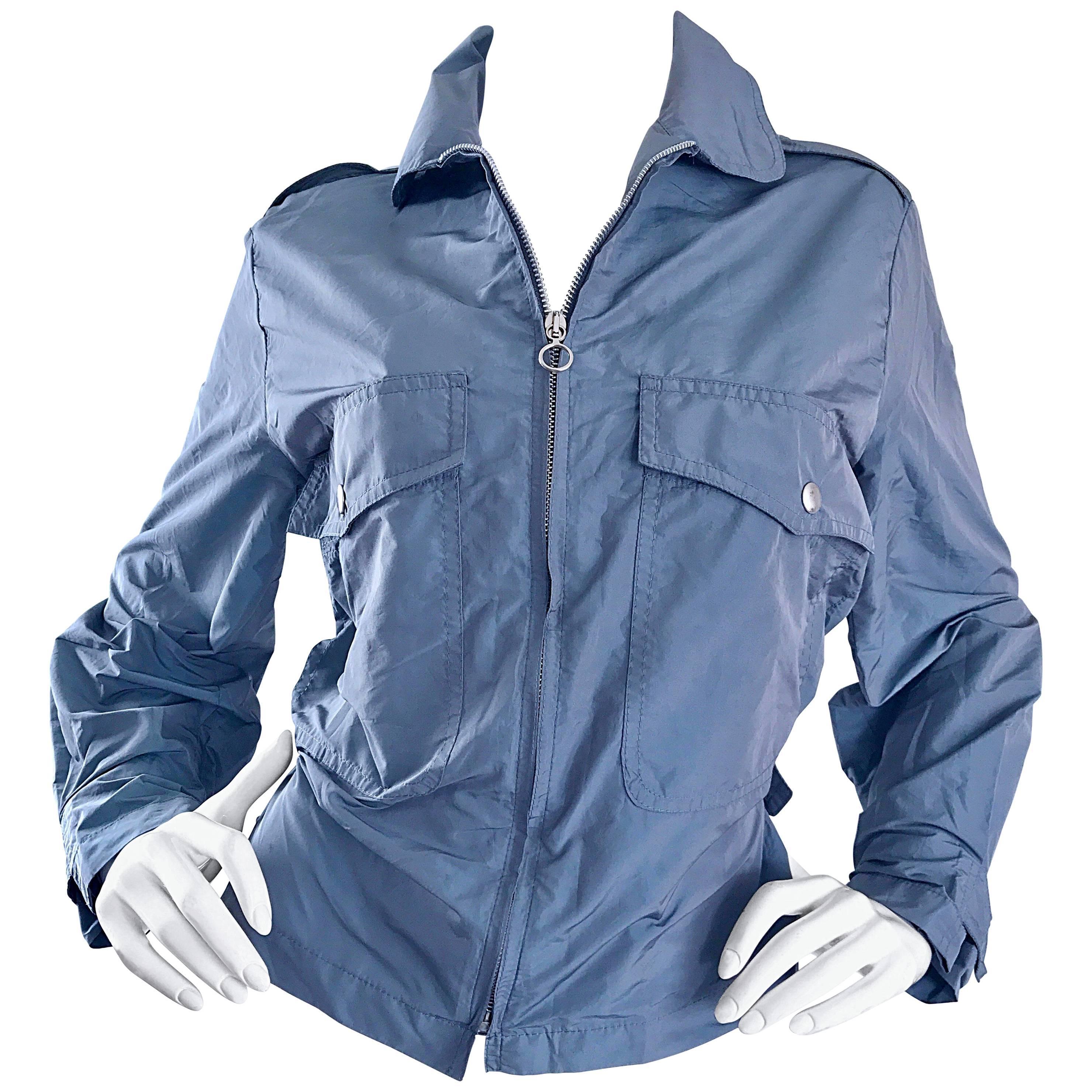 1990s Krizia Steel Blue Grey 90s Stylish Vintage Windbreaker Moto Jacket