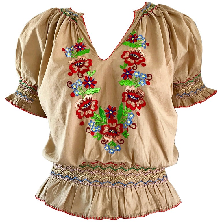 1940s Hungarian Embroidered Khaki Peasant Vintage 40s Smocked Crop Top Blouse  For Sale