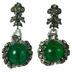 Rousselet Emerald Pate de Verre and Embroidered Earrings