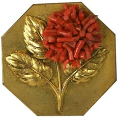 French Art Deco Coral Clip Brooch
