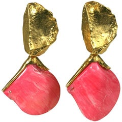 Yves Saint Laurent Sea Shell Earclips