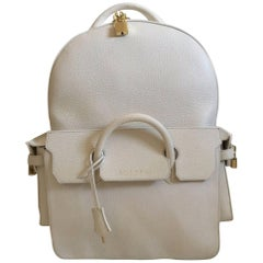Buscemi Large Leather Phd Backpack (White, Size - Large)