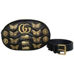 Gucci Matelasse Marmont Belt Bag (Black, Size - OS)