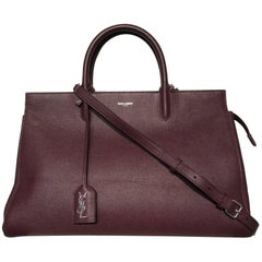 """Saint Laurent Cabas Burgundy Bag (Red, Size - 14""""x9.25""""x6"""")"""