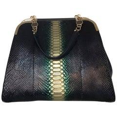"Bulgari Python Shoulder Bag (Black, Size - 14""x12""x8"")"
