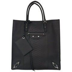 "Balenciaga Python Papier Leather Bag (Black, Size - 11.5x12""x6"")"