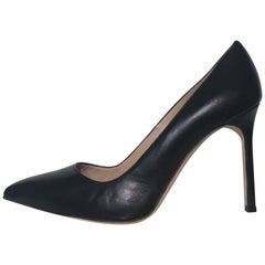 Manolo Blahnik Pointy Black Heels (Black, Size - 10)