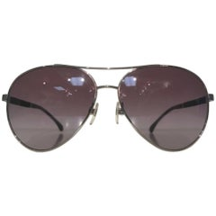 Chanel Aviator Sunglasses (Silver, Size - OS)