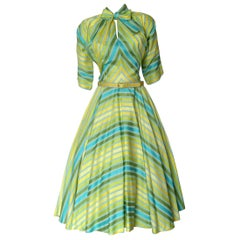 Claire McCardell Cotton Day Dress with Miter Striped Bodice and Neck Bow