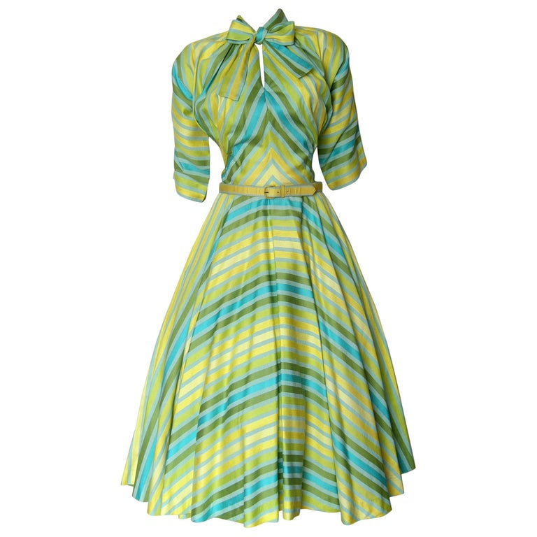 Claire McCardell Striped Cotton Day Dress with Bow