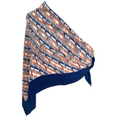 1970s Gucci Zebra Scarf Navy, White and Orange
