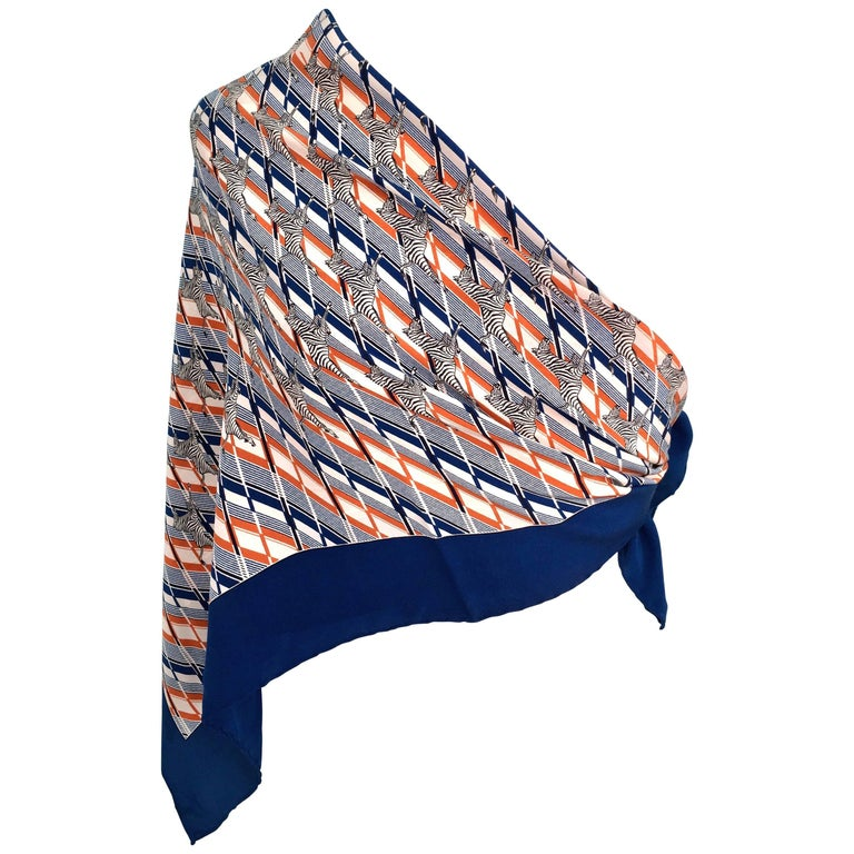 1970s Gucci Zebra Scarf Navy, White and Orange  1