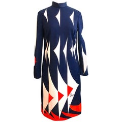 1970s Vera Neumann Red, White and Blue Graphic Dress