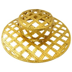 Collectible 1990s Chanel Gold Lattice Hat