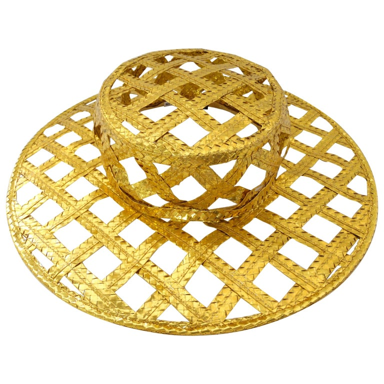 Collectible 1990s Chanel Gold Lattice Hat  For Sale