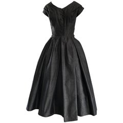 Rare 1950s Christian Dior Haute Couture ' New Look ' Vintage Black Silk Dress