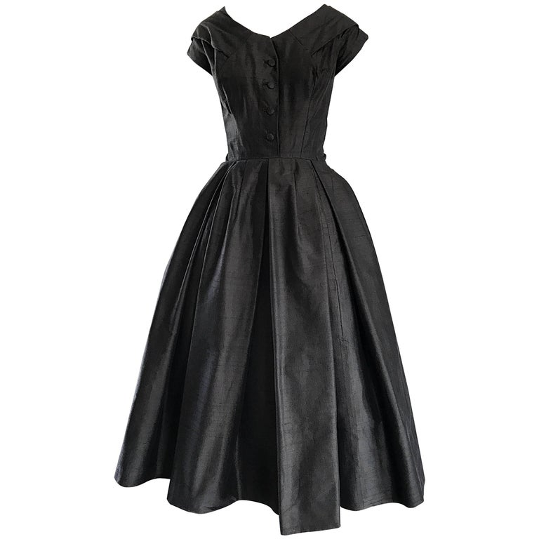 Rare 1950s Christian Dior Haute Couture ' New Look ' Vintage Black Silk Dress 1