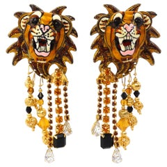 """1990s Lunch at the Ritz """"Lion"""" Earrings"""