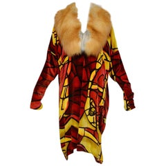 Christian Dior by John Galliano Deco Style Velvet Kimono Coat w Fox Fur Coat