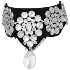 YSL By Tom Ford Black Velvet Mughal Choker with Rock Crystal Quartz Bead 2002
