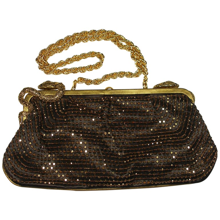 602a256681c STUNNING Embellished Roberto Cavalli Clutch Evening bag / Limited Edition  For Sale. Stunning Roberto Cavalli Sequin Bronze ...
