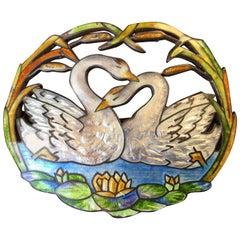 Art Nouveau Basse-Taille Sterling Silver Enamel Brooch. C. Lamond Fils.  1910.