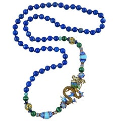 Chinese Gilded Silver Dragon Necklace with Lapis Beads. 1980's.