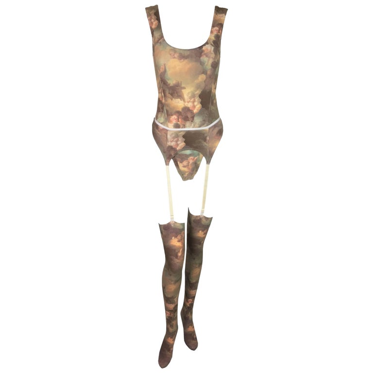 1992 Vivienne Westwood x Sock Shop Putti Print Bodysuit Garter Belt & Tights