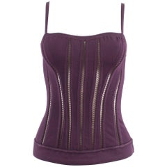 Alaia Autumn-Winter 1991 plum corset vest