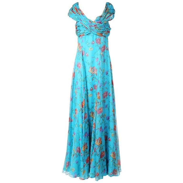 Oscar De La Renta Floral Print Silk Gown with Ruching