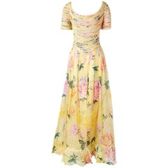 Valentino Couture Organza Floral Print Dress