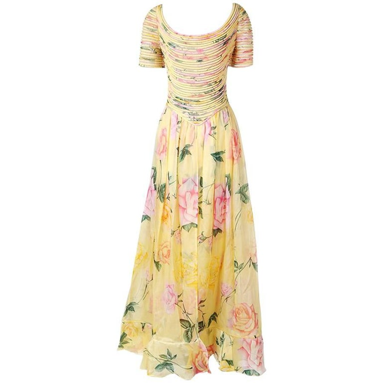 Valentino Couture Floral Print Dress