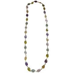 Bijoux Num Citrine, Rose Quartz, Green Amethyst, & Lemon Quartz Long Necklace