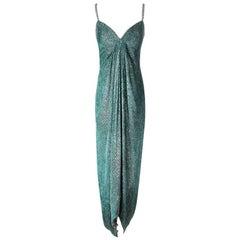 Bob Mackie Emerald Green Velvet Dress with Metallic Threads
