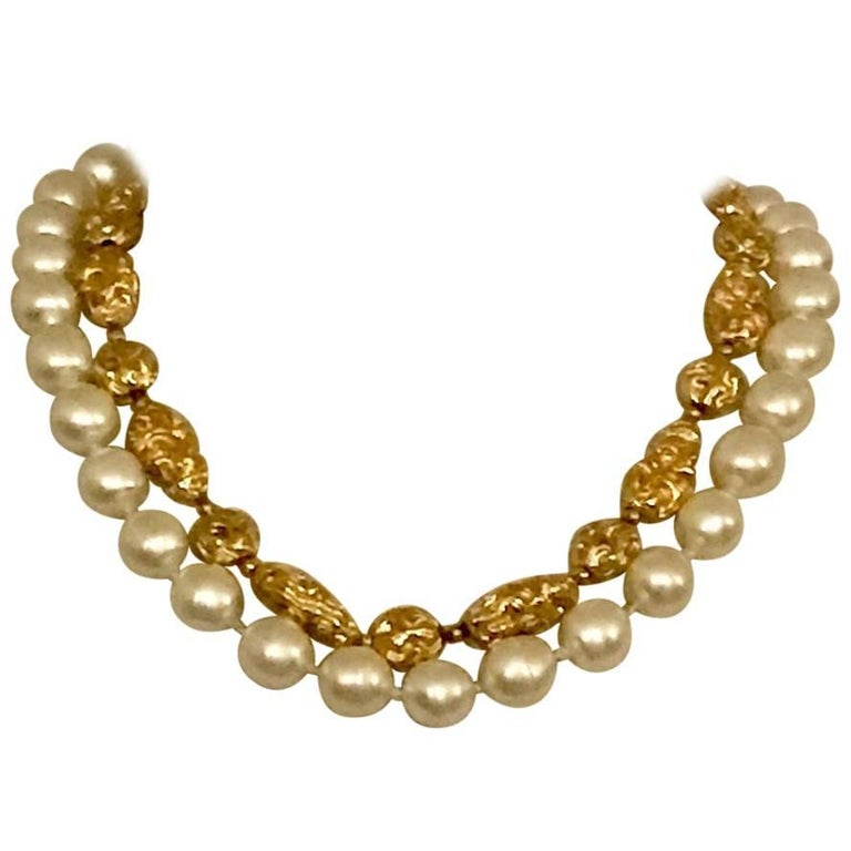 Chanel Vintage 1970s Faux Gold Nugget and Pearl Double Strand Necklace  For Sale