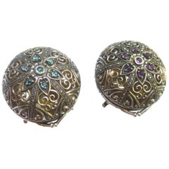 Exquisite Sterling Silver Jeweled Diminutive Trinket Boxes