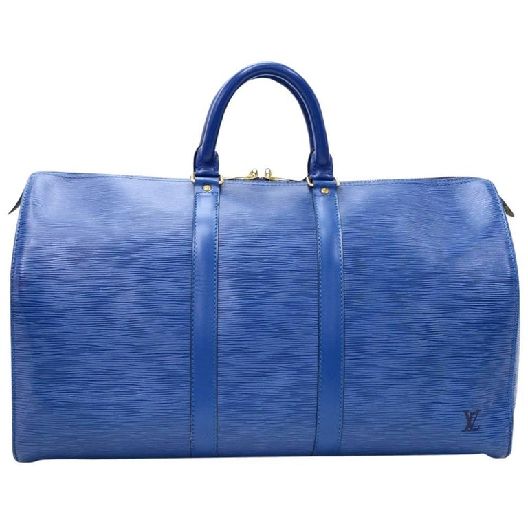 Vintage Louis Vuitton Keepall 45 Blue Epi Leather Duffle Travel Bag  For Sale