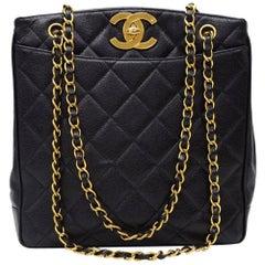 Vintage Chanel Black Quilted Caviar Leather Tote Shoulder Bag Large CC