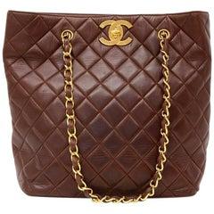 Vintage Chanel Dark Brown Quilted Leather Tote Shoulder Bag