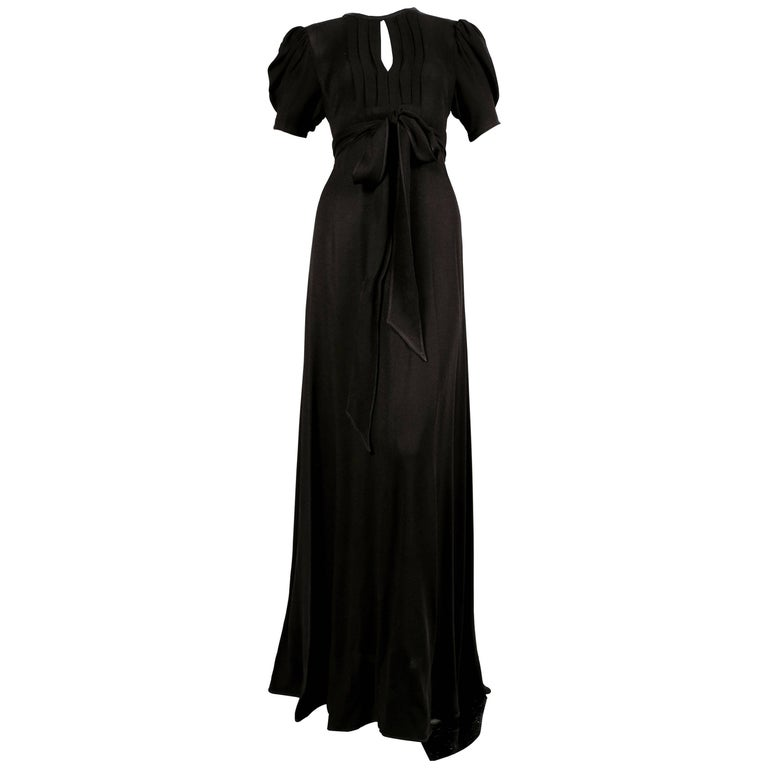 1970's OSSIE CLARK black moss crepe wrap dress with open back For Sale